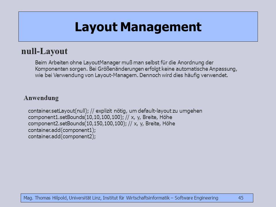 Mag. Thomas Hilpold, Universität Linz, Institut für Wirtschaftsinformatik – Software Engineering 45 Layout Management null-Layout Beim Arbeiten ohne L