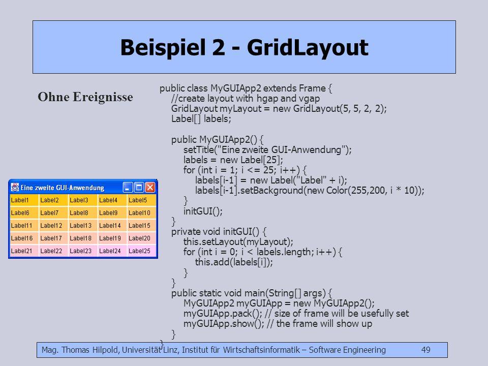 Mag. Thomas Hilpold, Universität Linz, Institut für Wirtschaftsinformatik – Software Engineering 49 Beispiel 2 - GridLayout Ohne Ereignisse public cla