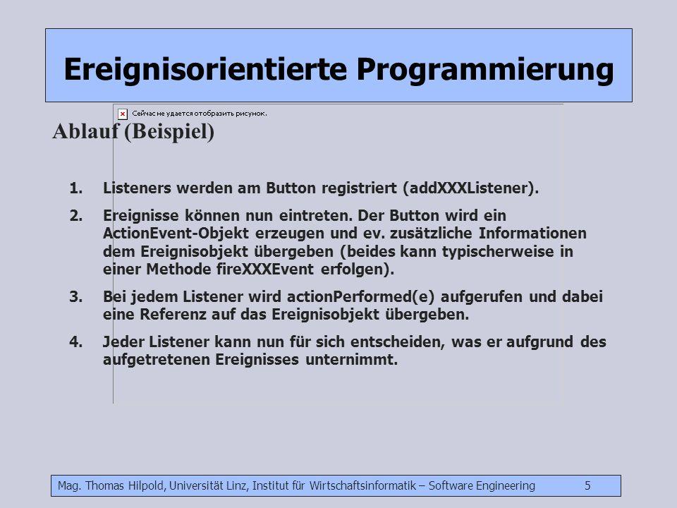 Mag. Thomas Hilpold, Universität Linz, Institut für Wirtschaftsinformatik – Software Engineering 5 Ereignisorientierte Programmierung Ablauf (Beispiel