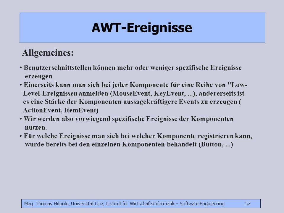 Mag. Thomas Hilpold, Universität Linz, Institut für Wirtschaftsinformatik – Software Engineering 52 AWT-Ereignisse Allgemeines: Benutzerschnittstellen
