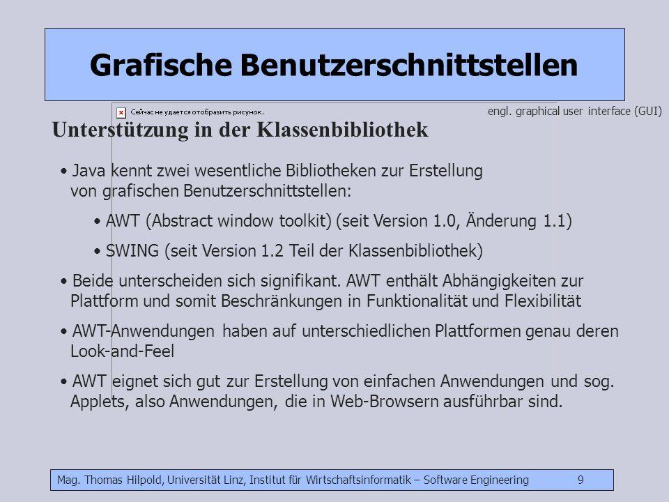 Mag. Thomas Hilpold, Universität Linz, Institut für Wirtschaftsinformatik – Software Engineering 9 Grafische Benutzerschnittstellen Unterstützung in d