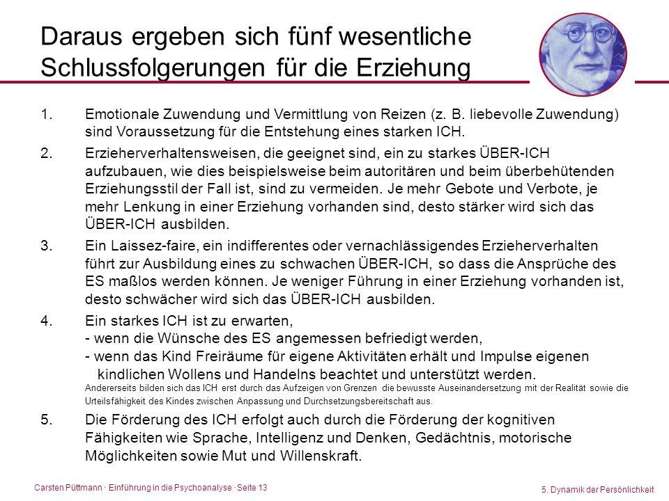 Carsten Püttmann ∙ Einführung in die Psychoanalyse · Seite 13 Daraus ergeben sich fünf wesentliche Schlussfolgerungen für die Erziehung 5. Dynamik der