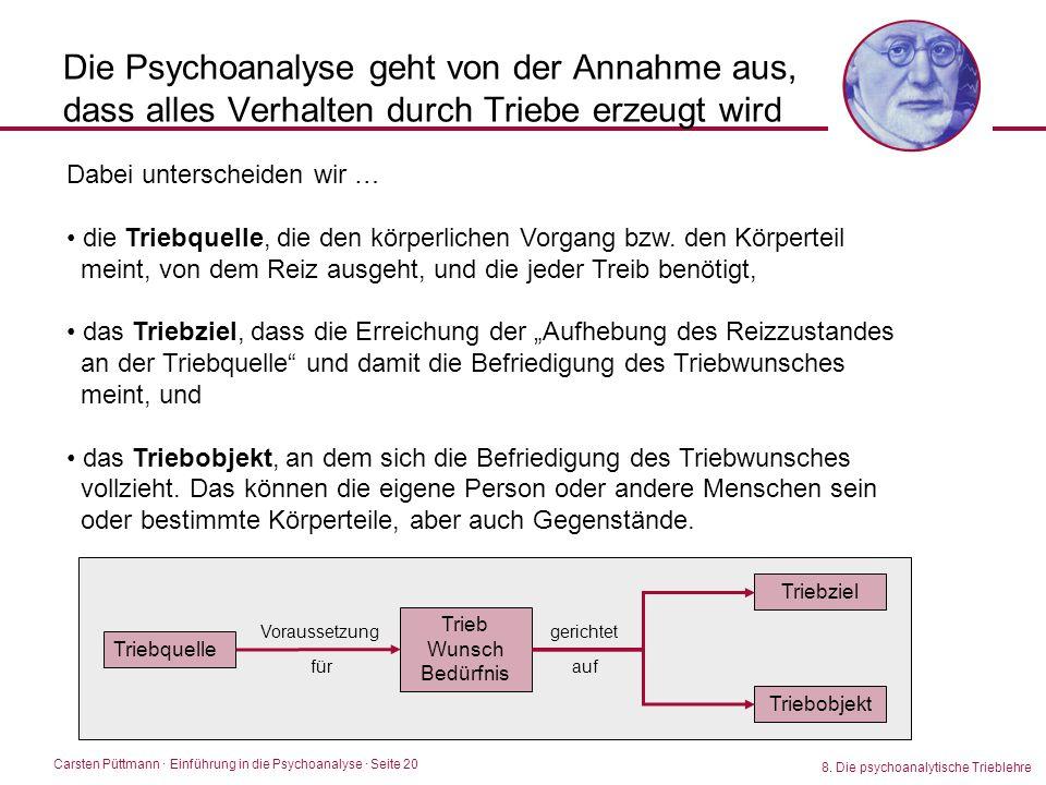 Carsten Püttmann ∙ Einführung in die Psychoanalyse · Seite 20 8. Die psychoanalytische Trieblehre Triebquelle Die Psychoanalyse geht von der Annahme a