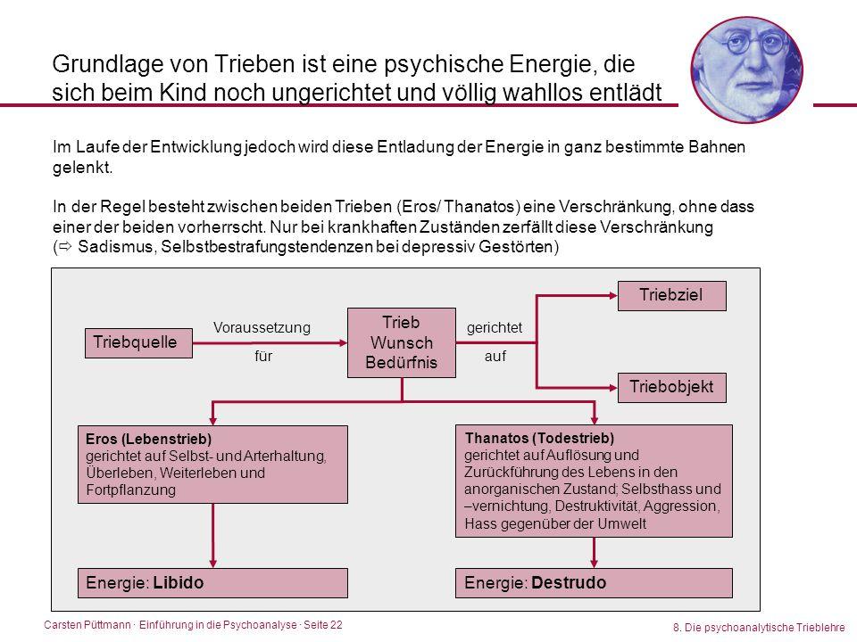 Carsten Püttmann ∙ Einführung in die Psychoanalyse · Seite 22 8. Die psychoanalytische Trieblehre Grundlage von Trieben ist eine psychische Energie, d