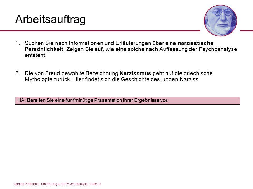 Carsten Püttmann ∙ Einführung in die Psychoanalyse · Seite 23 Arbeitsauftrag 1.Suchen Sie nach Informationen und Erläuterungen über eine narzisstische