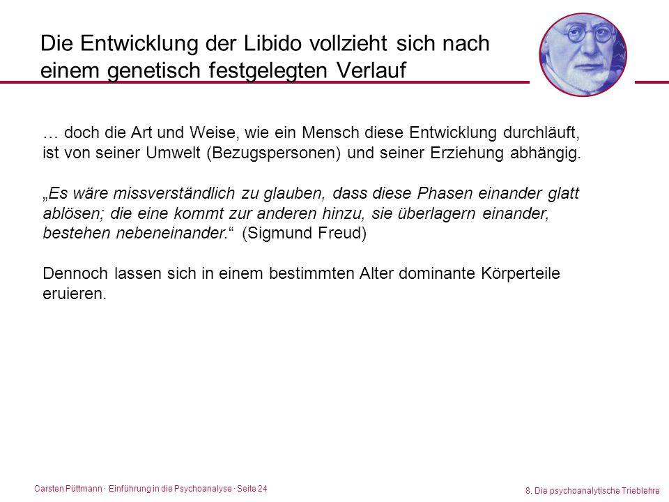 Carsten Püttmann ∙ Einführung in die Psychoanalyse · Seite 24 8. Die psychoanalytische Trieblehre Die Entwicklung der Libido vollzieht sich nach einem