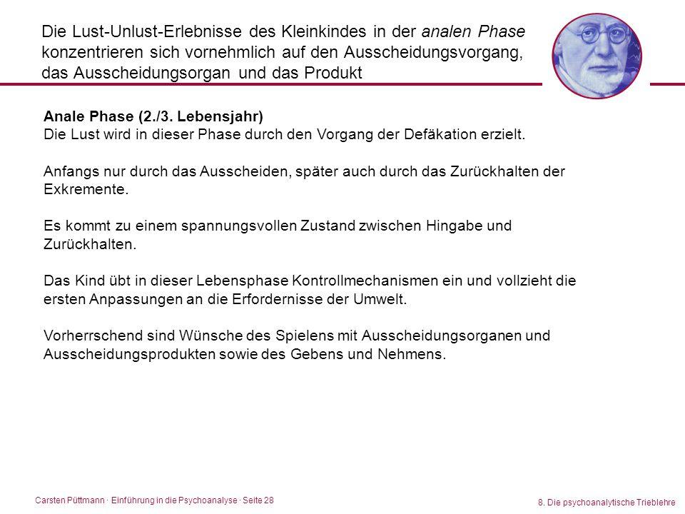 Carsten Püttmann ∙ Einführung in die Psychoanalyse · Seite 28 8. Die psychoanalytische Trieblehre Die Lust-Unlust-Erlebnisse des Kleinkindes in der an