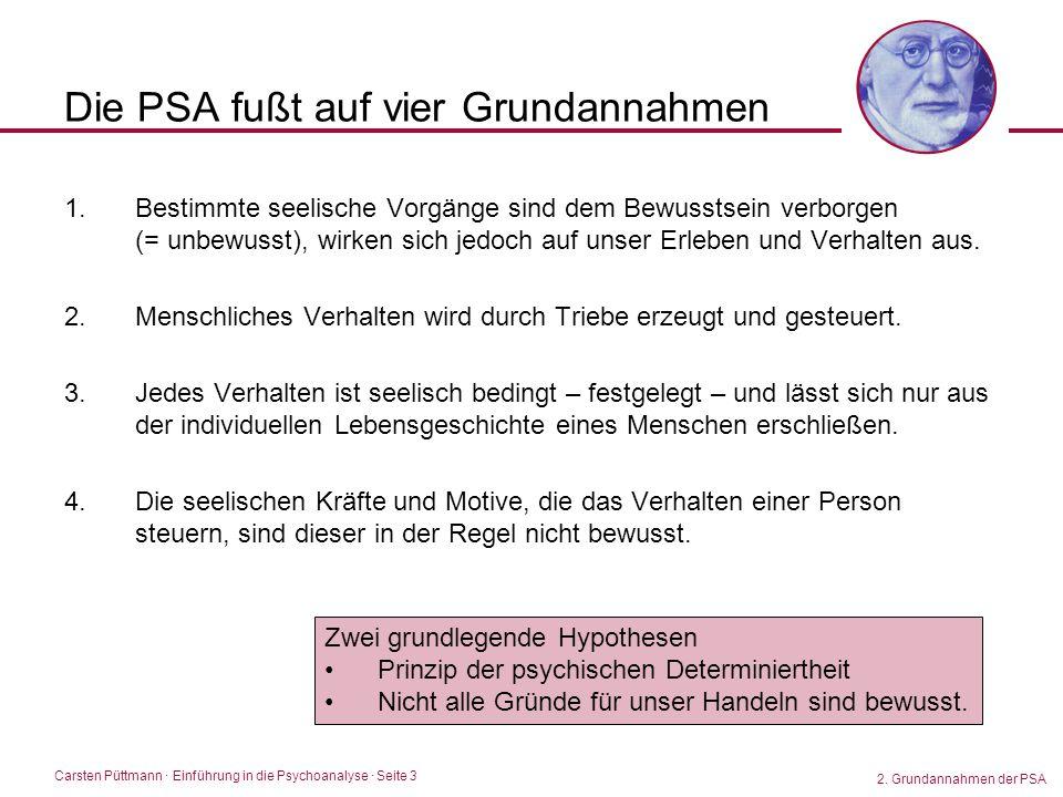 Carsten Püttmann ∙ Einführung in die Psychoanalyse · Seite 3 Die PSA fußt auf vier Grundannahmen 1.Bestimmte seelische Vorgänge sind dem Bewusstsein v