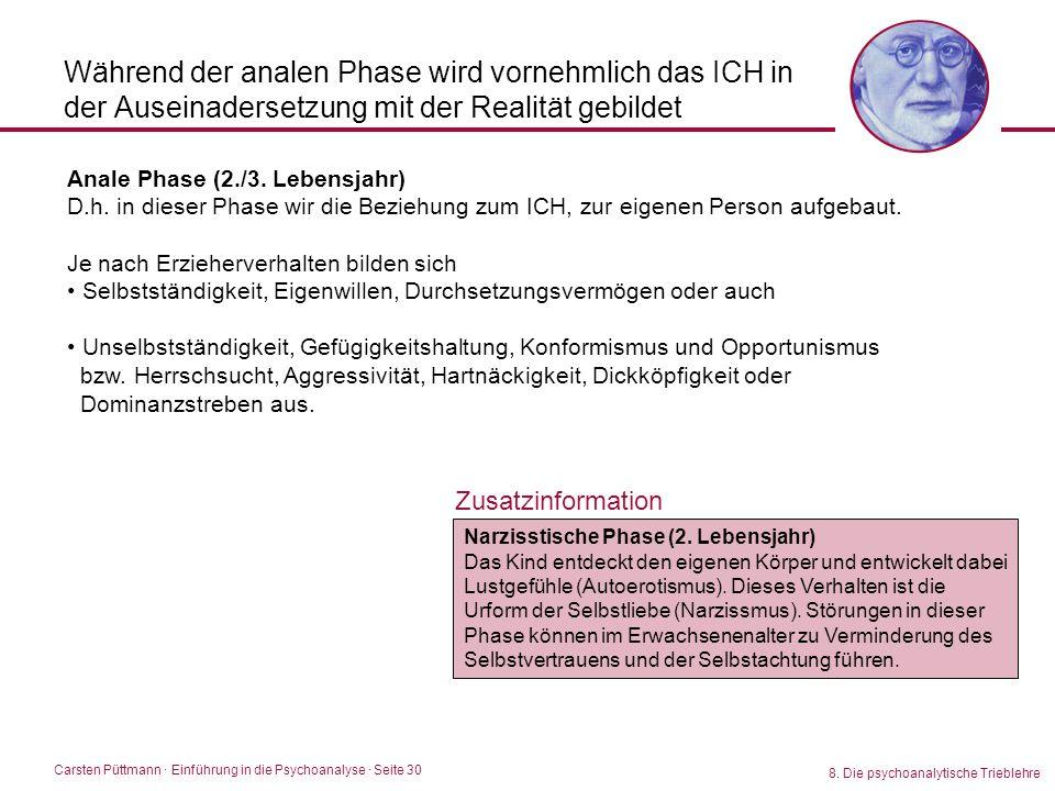 Carsten Püttmann ∙ Einführung in die Psychoanalyse · Seite 30 8. Die psychoanalytische Trieblehre Während der analen Phase wird vornehmlich das ICH in