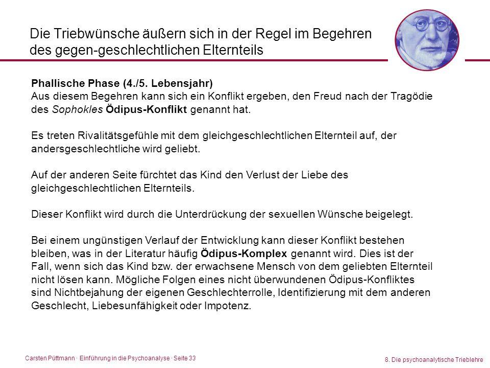 Carsten Püttmann ∙ Einführung in die Psychoanalyse · Seite 33 8. Die psychoanalytische Trieblehre Die Triebwünsche äußern sich in der Regel im Begehre