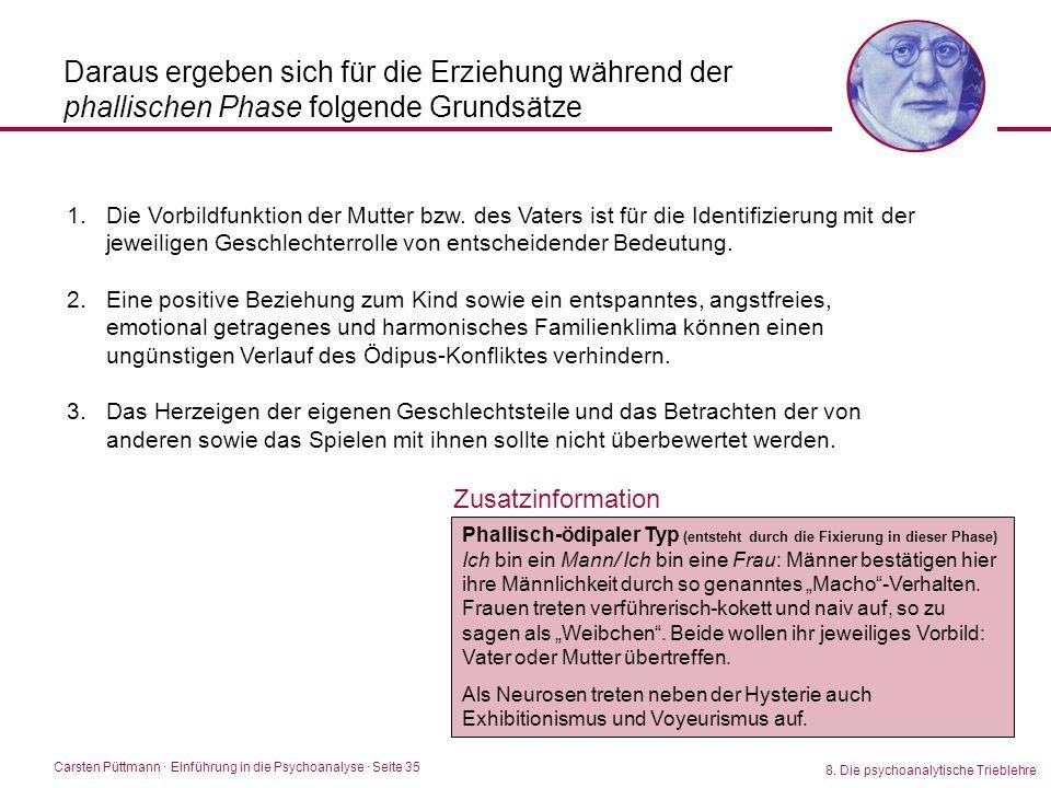 Carsten Püttmann ∙ Einführung in die Psychoanalyse · Seite 35 8. Die psychoanalytische Trieblehre Daraus ergeben sich für die Erziehung während der ph