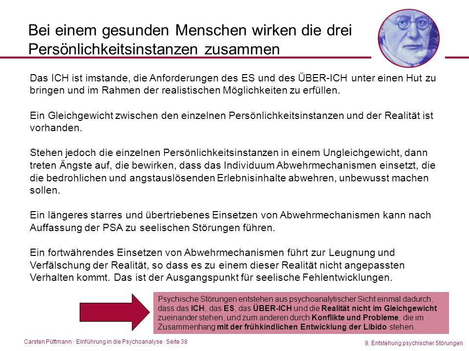Carsten Püttmann ∙ Einführung in die Psychoanalyse · Seite 38 9. Entstehung psychischer Störungen Bei einem gesunden Menschen wirken die drei Persönli