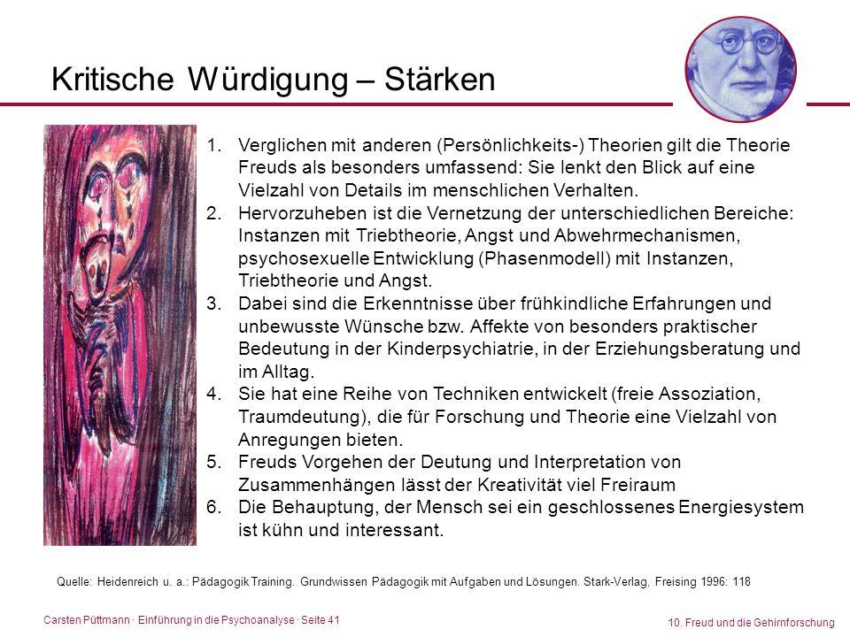 Carsten Püttmann ∙ Einführung in die Psychoanalyse · Seite 41 10. Freud und die Gehirnforschung Kritische Würdigung – Stärken 1.Verglichen mit anderen