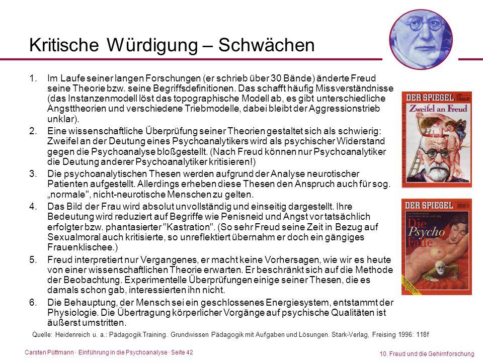 Carsten Püttmann ∙ Einführung in die Psychoanalyse · Seite 42 10. Freud und die Gehirnforschung Kritische Würdigung – Schwächen 1.Im Laufe seiner lang
