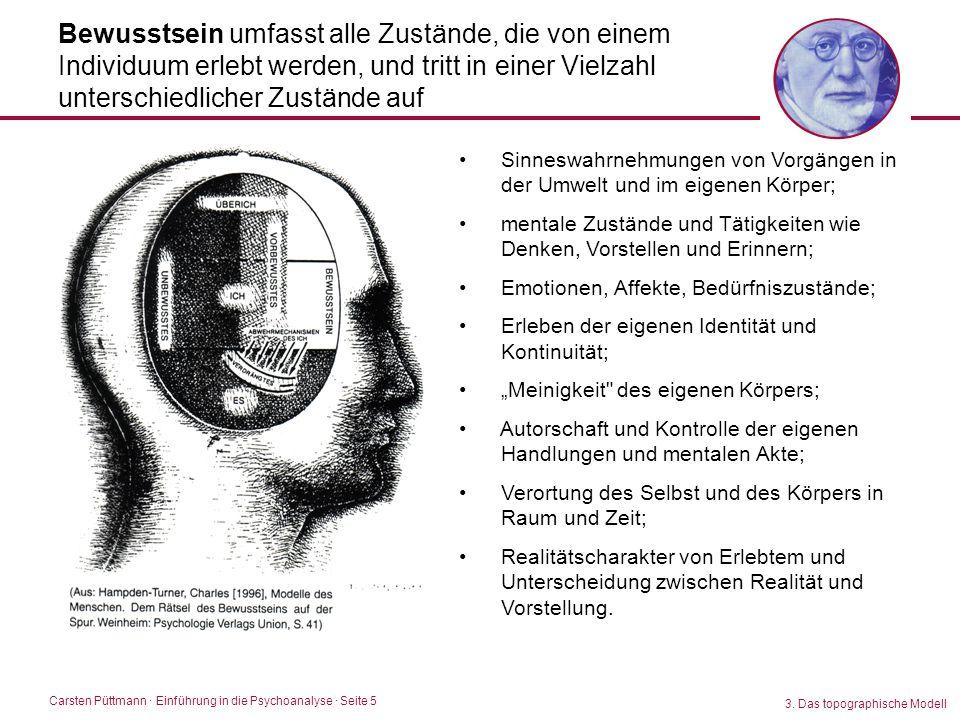 Carsten Püttmann ∙ Einführung in die Psychoanalyse · Seite 5 Bewusstsein umfasst alle Zustände, die von einem Individuum erlebt werden, und tritt in e