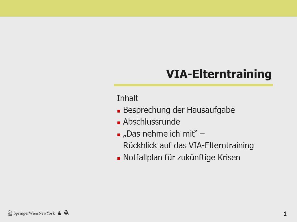"""VIA-Elterntraining Inhalt Besprechung der Hausaufgabe Abschlussrunde """"Das nehme ich mit"""" – Rückblick auf das VIA-Elterntraining Notfallplan für zukünf"""