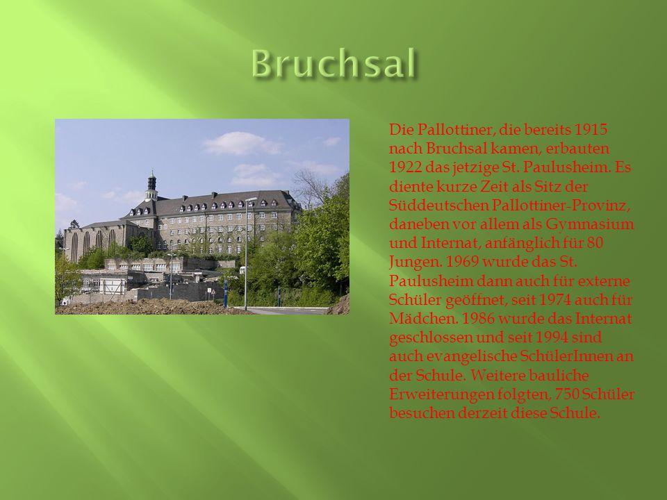 Die Pallottiner, die bereits 1915 nach Bruchsal kamen, erbauten 1922 das jetzige St.