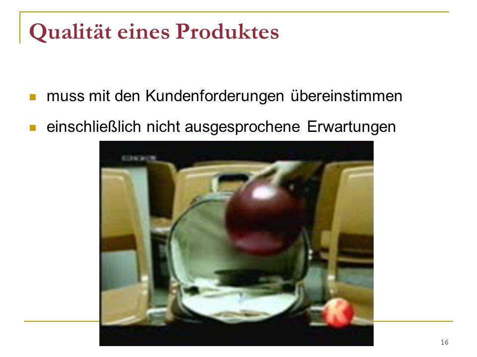 16 Qualität eines Produktes muss mit den Kundenforderungen übereinstimmen einschließlich nicht ausgesprochene Erwartungen
