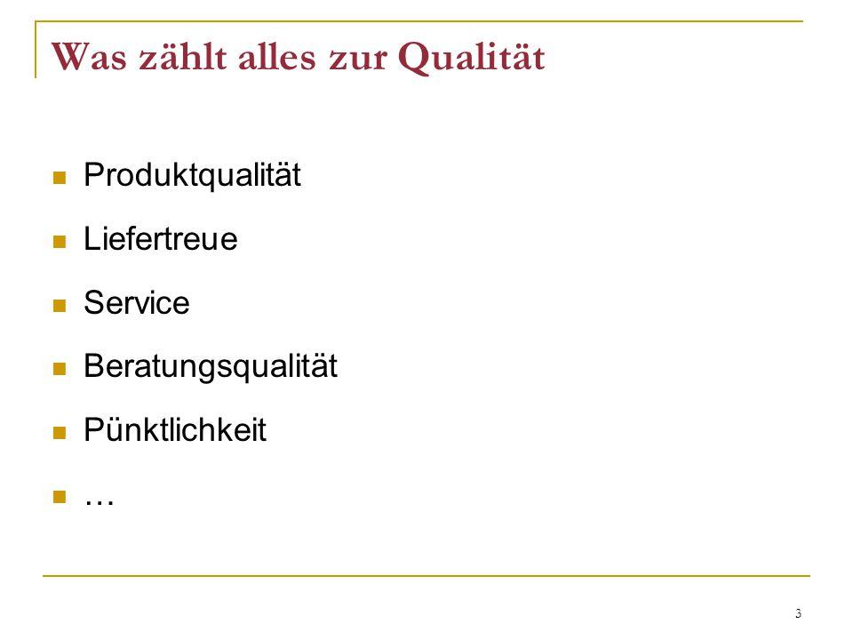 3 Was zählt alles zur Qualität Produktqualität Liefertreue Service Beratungsqualität Pünktlichkeit …