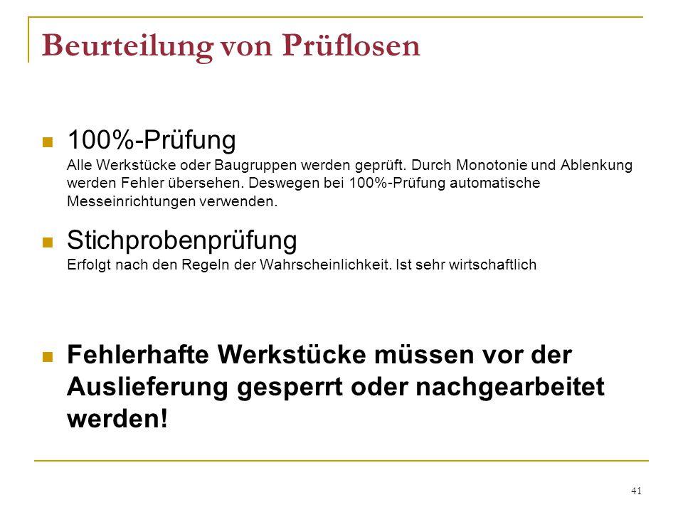 41 Beurteilung von Prüflosen 100%-Prüfung Alle Werkstücke oder Baugruppen werden geprüft.