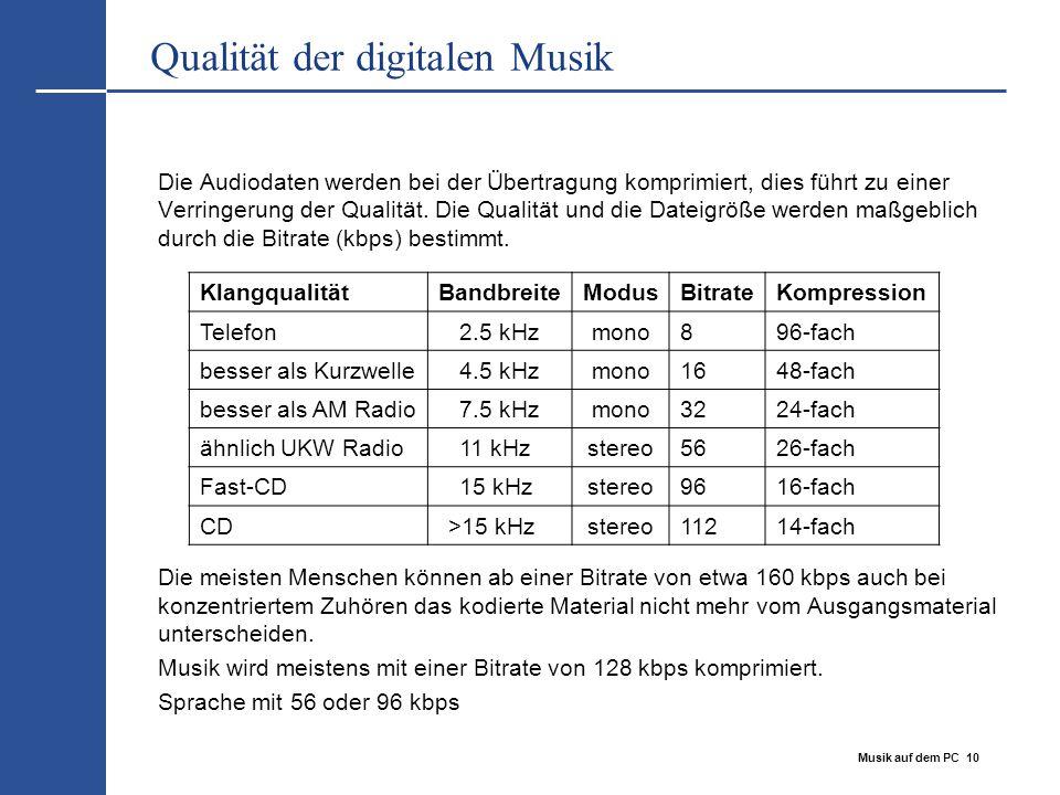 Musik auf dem PC 10 Qualität der digitalen Musik Die Audiodaten werden bei der Übertragung komprimiert, dies führt zu einer Verringerung der Qualität.