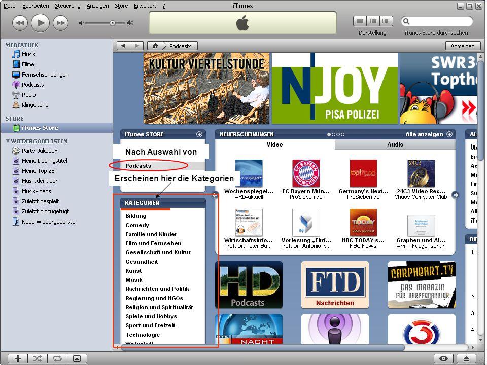 Musik auf dem PC 29 Erscheinen hier die Kategorien Nach Auswahl von