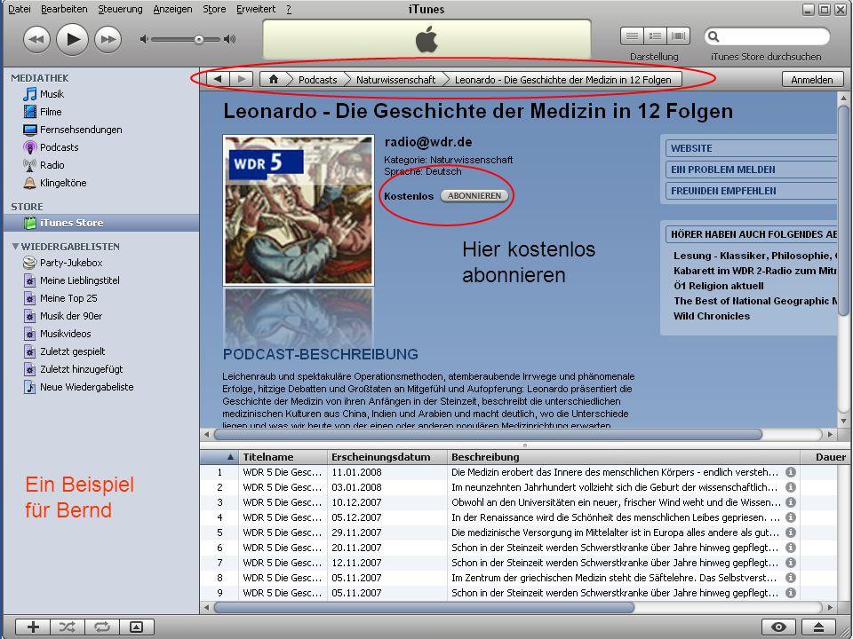 Musik auf dem PC 30 Ein Beispiel für Bernd Hier kostenlos abonnieren