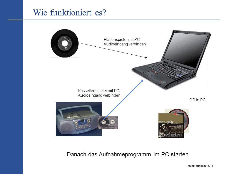 Musik auf dem PC 4 Wie funktioniert es? Plattenspieler mit PC Audioeingang verbinden Kassettenspieler mit PC Audioeingang verbinden CD in PC Danach da