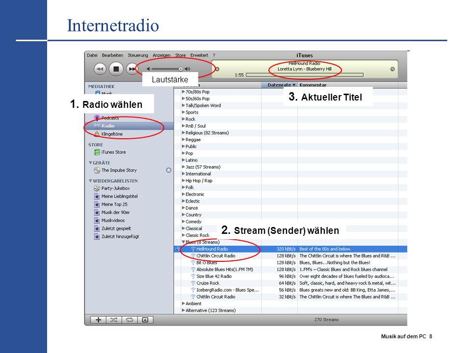 Musik auf dem PC 8 Internetradio 1. Radio wählen 2. Stream (Sender) wählen 3. Aktueller Titel Lautstärke