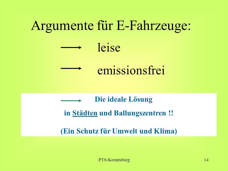 PTS-Korneuburg14 Argumente für E-Fahrzeuge: leise emissionsfrei Die ideale Lösung in Städten und Ballungszentren !! (Ein Schutz für Umwelt und Klima)