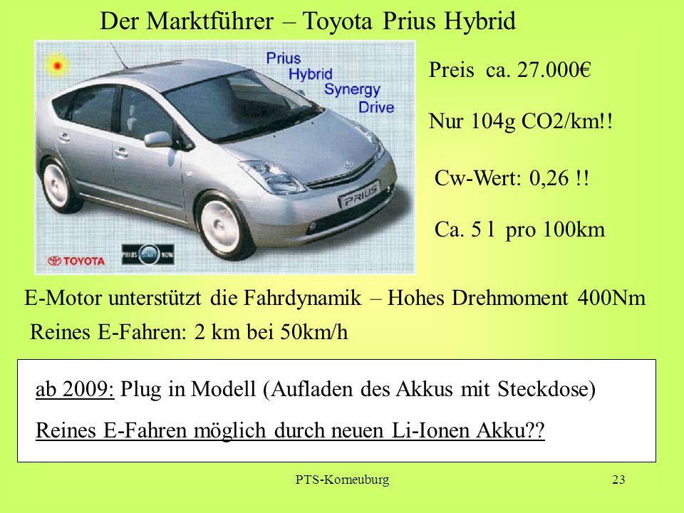 PTS-Korneuburg23 Der Marktführer – Toyota Prius Hybrid ab 2009: Plug in Modell (Aufladen des Akkus mit Steckdose) Reines E-Fahren möglich durch neuen