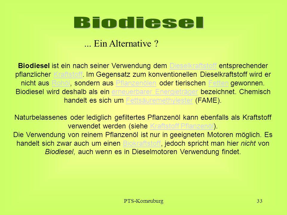 PTS-Korneuburg33 Biodiesel ist ein nach seiner Verwendung dem Dieselkraftstoff entsprechender pflanzlicher Kraftstoff. Im Gegensatz zum konventionelle