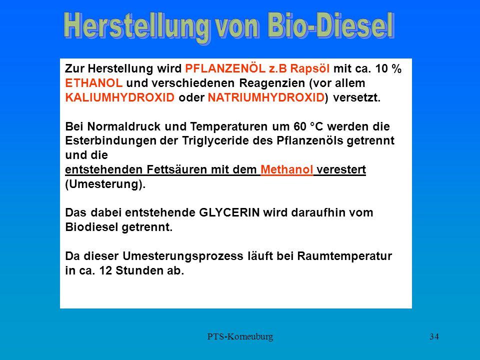 PTS-Korneuburg34 Zur Herstellung wird PFLANZENÖL z.B Rapsöl mit ca. 10 % ETHANOL und verschiedenen Reagenzien (vor allem KALIUMHYDROXID oder NATRIUMHY