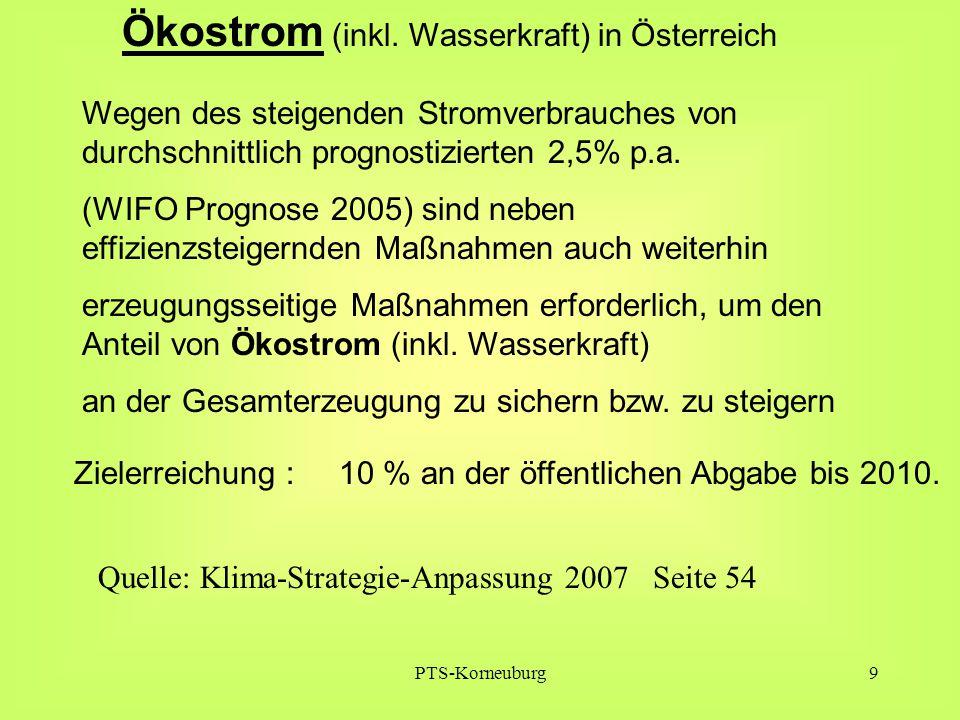 PTS-Korneuburg9 Wegen des steigenden Stromverbrauches von durchschnittlich prognostizierten 2,5% p.a. (WIFO Prognose 2005) sind neben effizienzsteiger