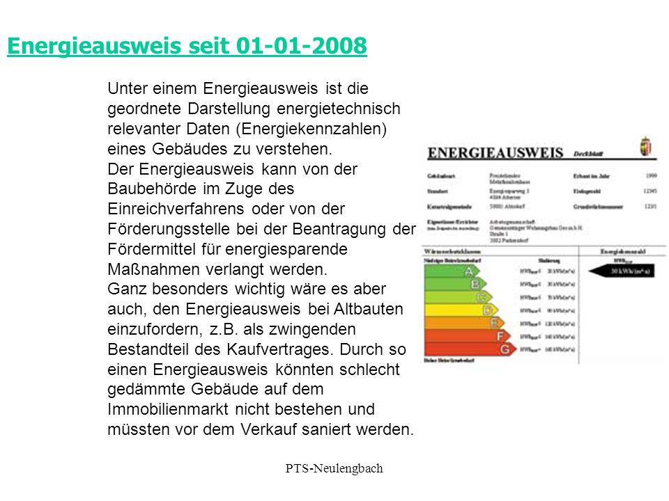 Energieausweis seit 01-01-2008 Unter einem Energieausweis ist die geordnete Darstellung energietechnisch relevanter Daten (Energiekennzahlen) eines Ge