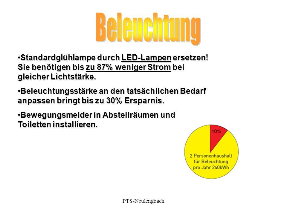 Standardglühlampe durch LED-Lampen ersetzen! Sie benötigen bis zu 87% weniger Strom bei gleicher Lichtstärke.Standardglühlampe durch LED-Lampen ersetz