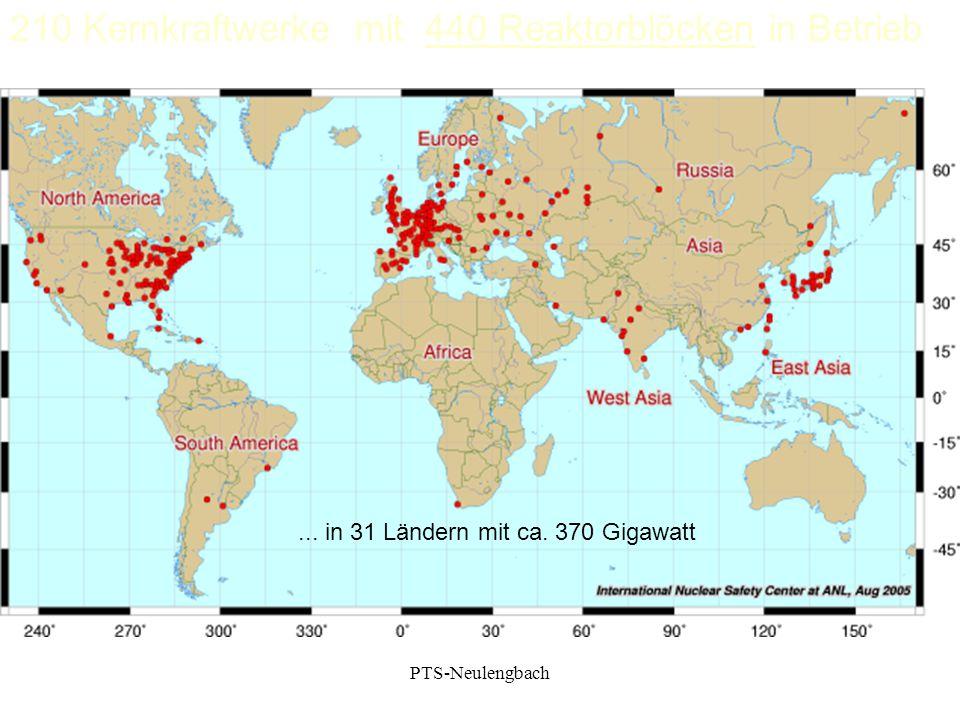 210 Kernkraftwerke mit 440 Reaktorblöcken in Betrieb... in 31 Ländern mit ca. 370 Gigawatt PTS-Neulengbach