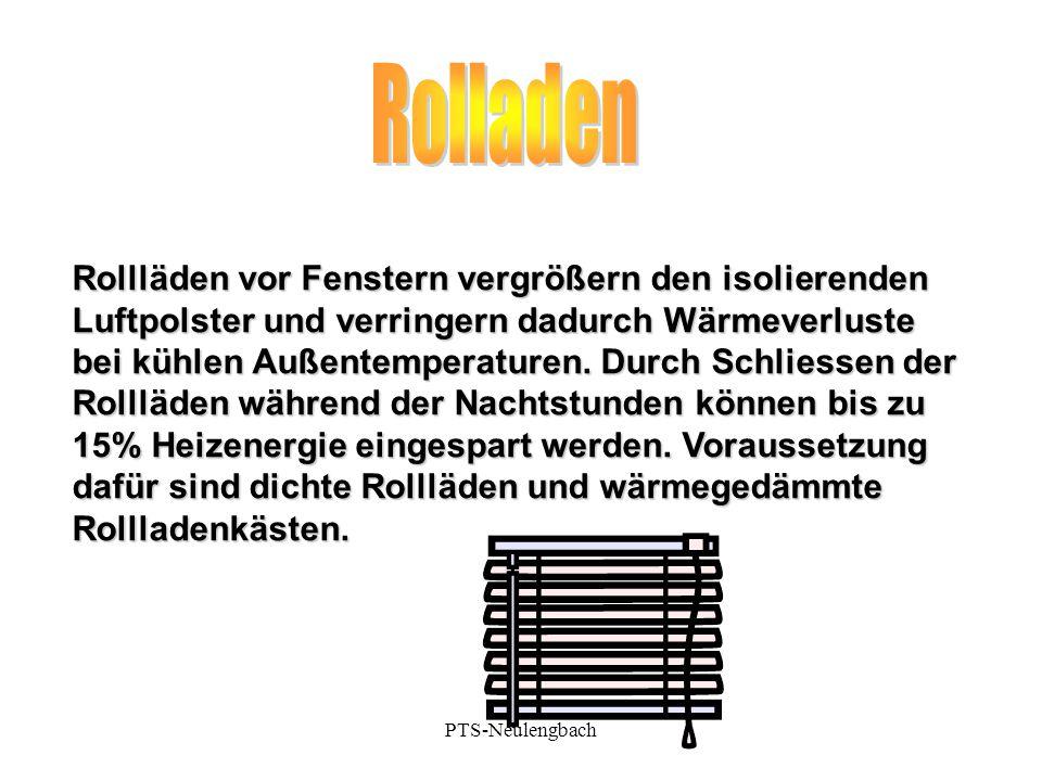 Rollläden vor Fenstern vergrößern den isolierenden Luftpolster und verringern dadurch Wärmeverluste bei kühlen Außentemperaturen. Durch Schliessen der