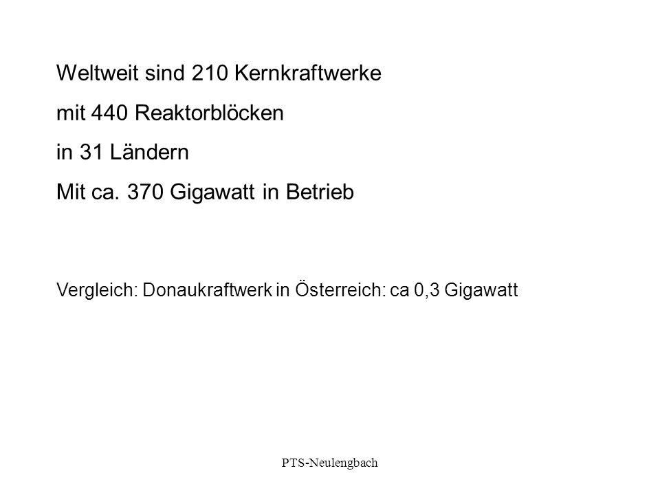 Weltweit sind 210 Kernkraftwerke mit 440 Reaktorblöcken in 31 Ländern Mit ca. 370 Gigawatt in Betrieb Vergleich: Donaukraftwerk in Österreich: ca 0,3