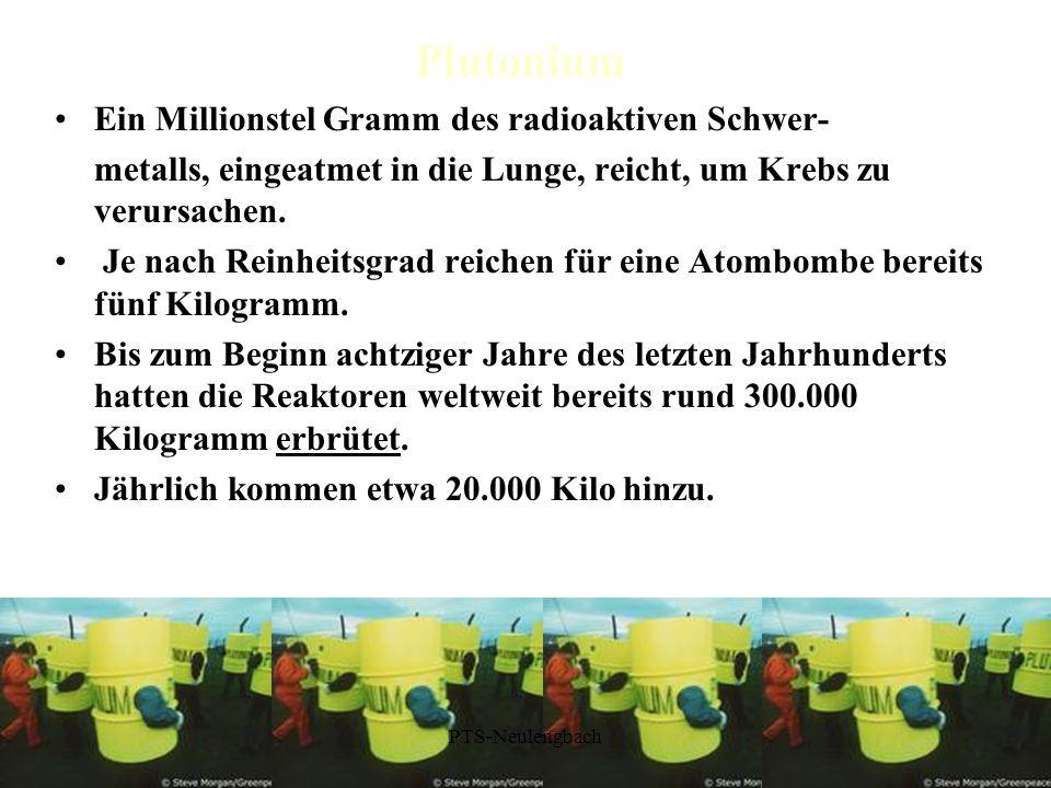 Plutonium Ein Millionstel Gramm des radioaktiven Schwer- metalls, eingeatmet in die Lunge, reicht, um Krebs zu verursachen. Je nach Reinheitsgrad reic