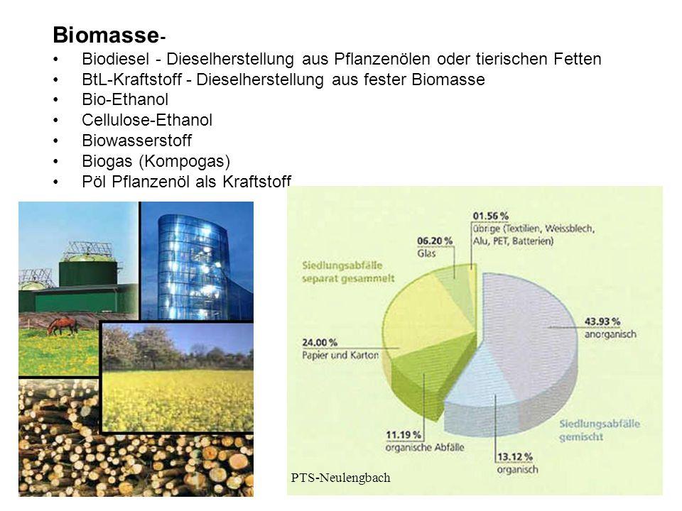 Biomasse - Biodiesel - Dieselherstellung aus Pflanzenölen oder tierischen Fetten BtL-Kraftstoff - Dieselherstellung aus fester Biomasse Bio-Ethanol Ce