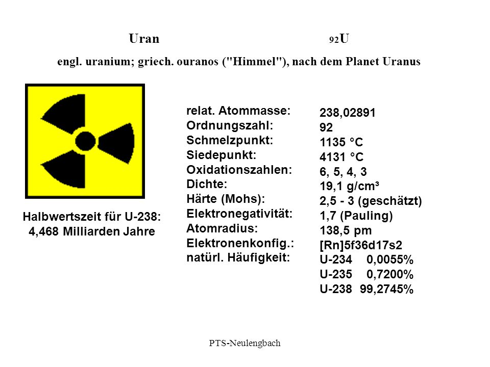 Uran 92 U engl. uranium; griech. ouranos (