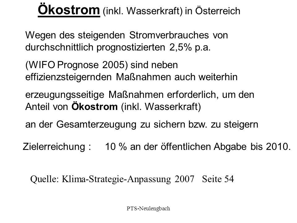 Wegen des steigenden Stromverbrauches von durchschnittlich prognostizierten 2,5% p.a. (WIFO Prognose 2005) sind neben effizienzsteigernden Maßnahmen a