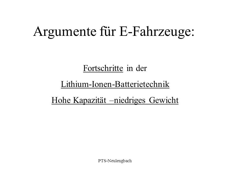Argumente für E-Fahrzeuge: Fortschritte in der Lithium-Ionen-Batterietechnik Hohe Kapazität –niedriges Gewicht PTS-Neulengbach