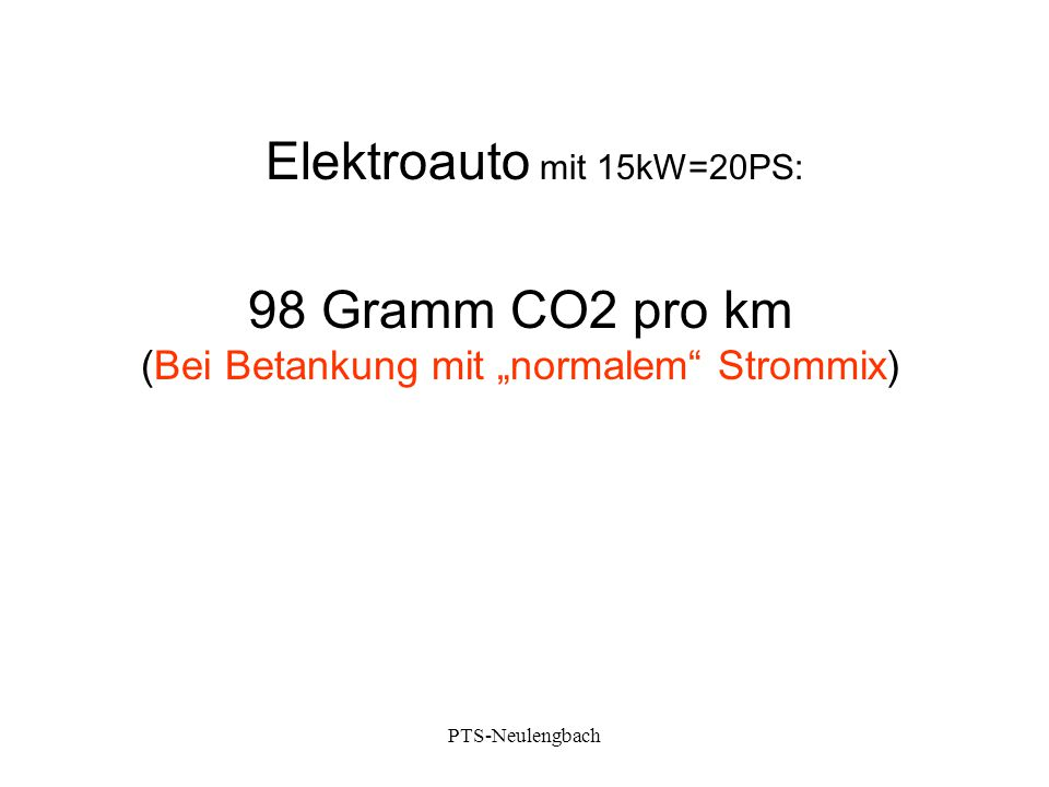 "Elektroauto mit 15kW=20PS: 98 Gramm CO2 pro km (Bei Betankung mit ""normalem"" Strommix) PTS-Neulengbach"