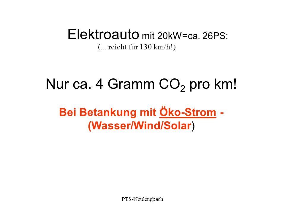 Elektroauto mit 20kW=ca. 26PS: Nur ca. 4 Gramm CO 2 pro km! Bei Betankung mit Öko-Strom - (Wasser/Wind/Solar) (... reicht für 130 km/h!) PTS-Neulengba