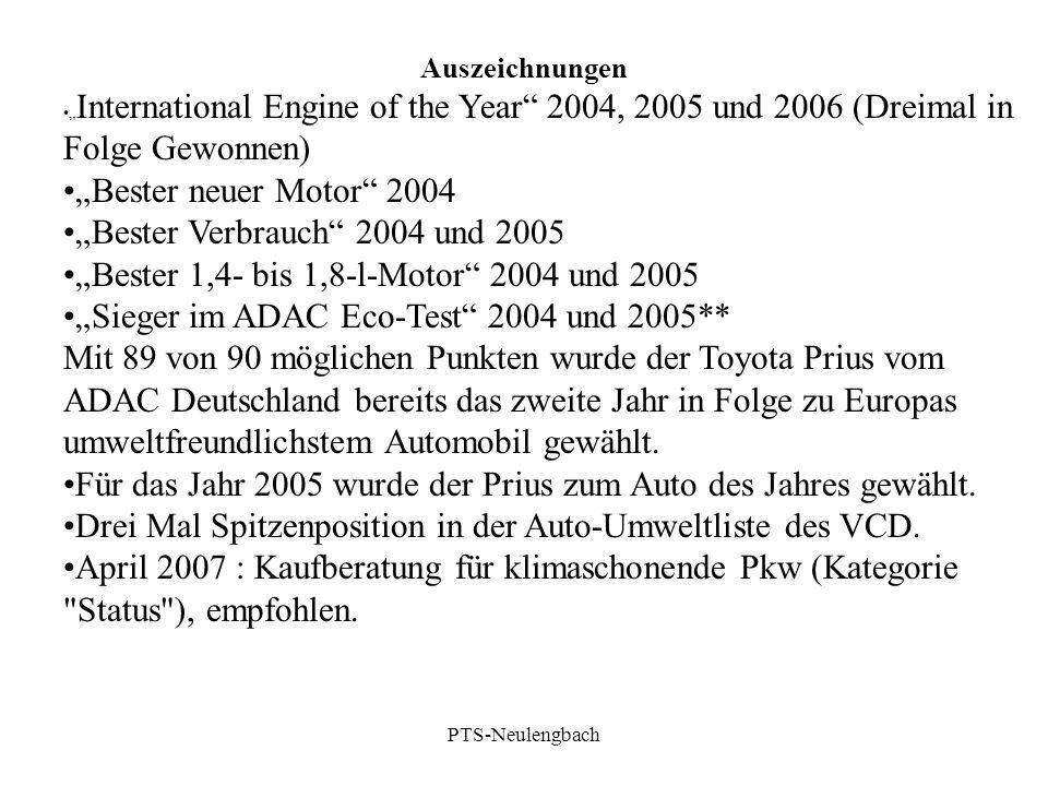 """Auszeichnungen """" International Engine of the Year"""" 2004, 2005 und 2006 (Dreimal in Folge Gewonnen) """"Bester neuer Motor"""" 2004 """"Bester Verbrauch"""" 2004 u"""