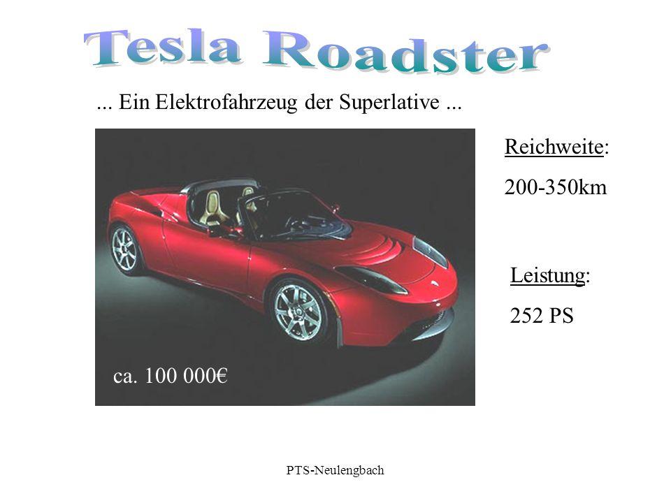 ca. 100 000€... Ein Elektrofahrzeug der Superlative... Reichweite: 200-350km Leistung: 252 PS PTS-Neulengbach