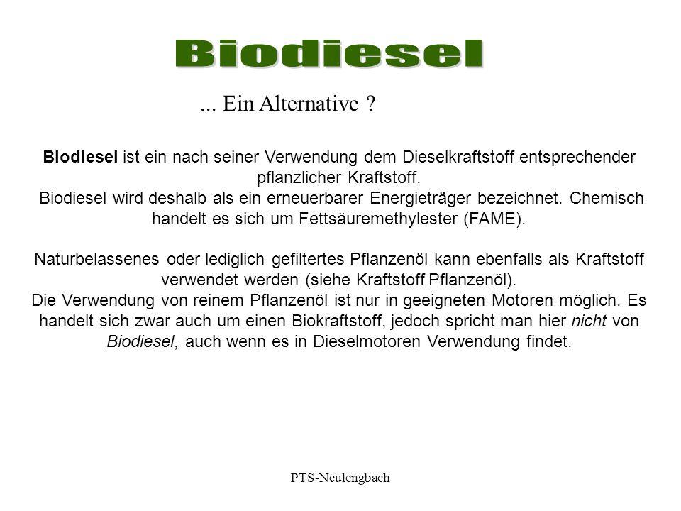 Biodiesel ist ein nach seiner Verwendung dem Dieselkraftstoff entsprechender pflanzlicher Kraftstoff. Biodiesel wird deshalb als ein erneuerbarer Ener