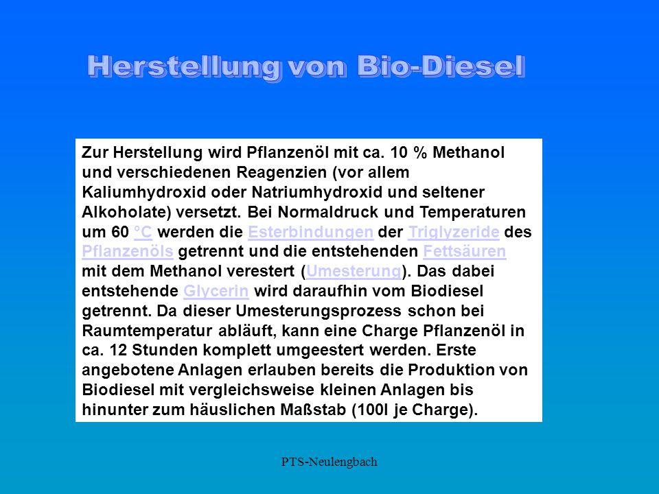 Zur Herstellung wird Pflanzenöl mit ca. 10 % Methanol und verschiedenen Reagenzien (vor allem Kaliumhydroxid oder Natriumhydroxid und seltener Alkohol
